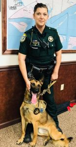 Brew standing proudly with his handler.