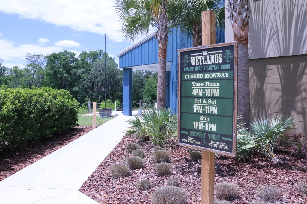 The entrance to Swamp Head Brewery's Tasting Room: The Wetlands