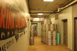 The keg hallway at Halpatter Brewing Company