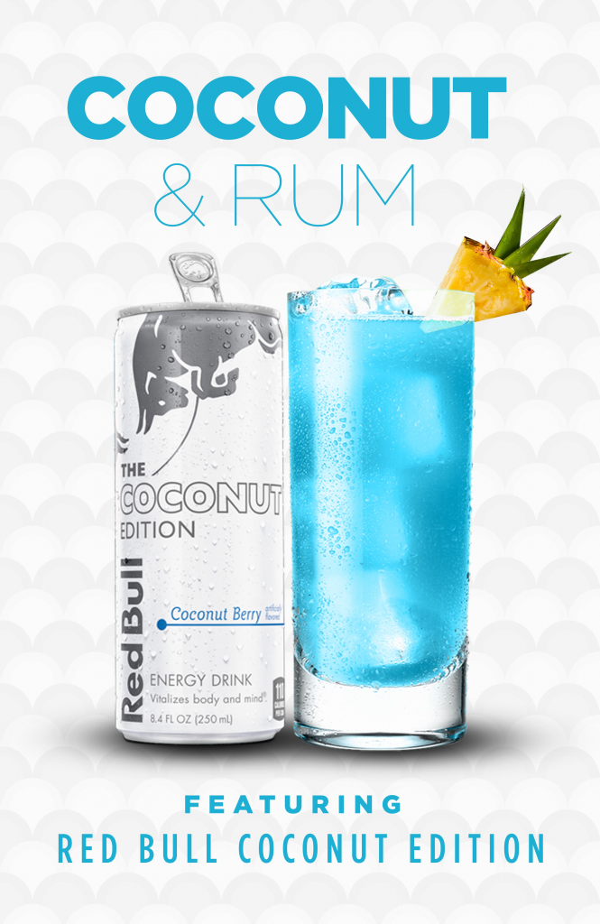 Red Bull Coconut Berry Rum and Coconut