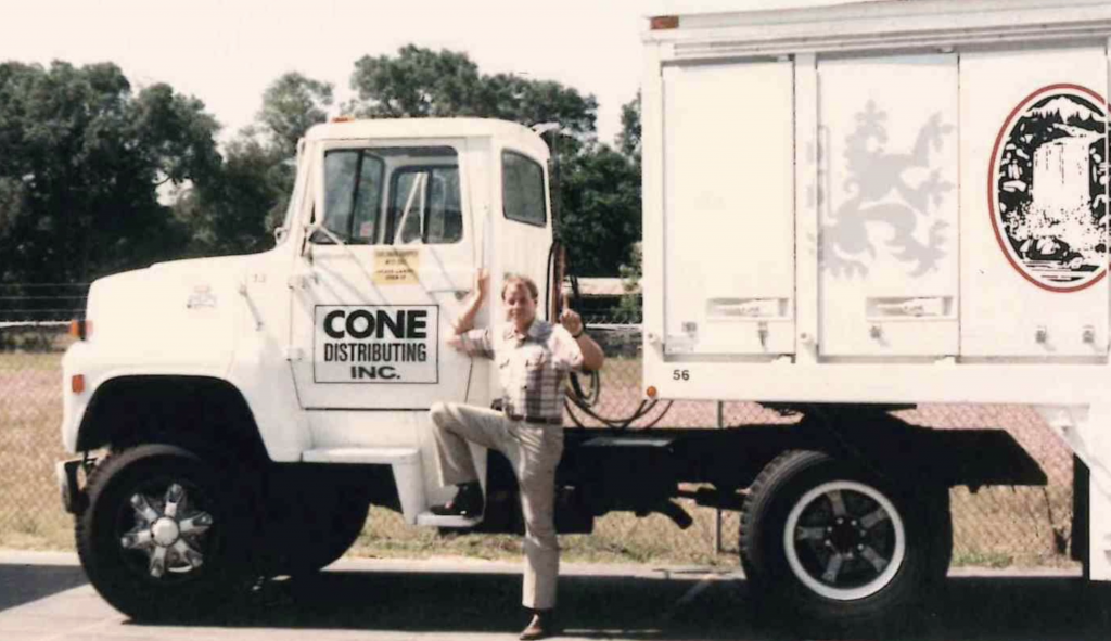 Vintage beer truck with Mr. Cone