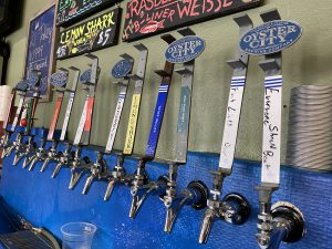 Oyster City Brewing Company tap handles