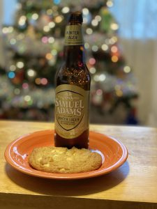 Samuel Adams Winter Lager and White Chocolate Macadamia Nut Cookie